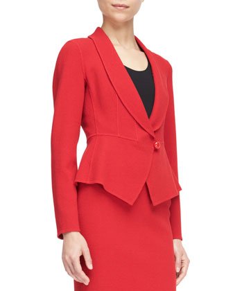 Single-Button Peplum Blazer and Classic Crepe Pencil Skirt