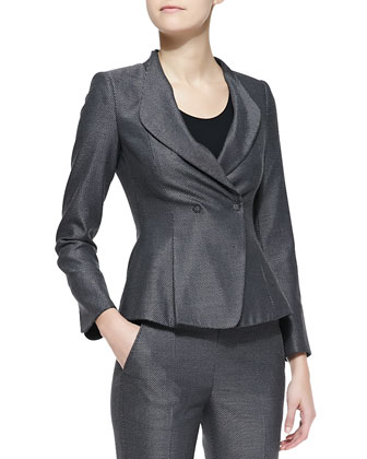 Birdseye Tweed Drape-Collar Jacket & Pencil Skirt