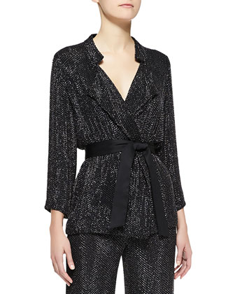 Beaded 3/4-Sleeve Belted Jacket & Beaded Suiting Wide-Leg Pants