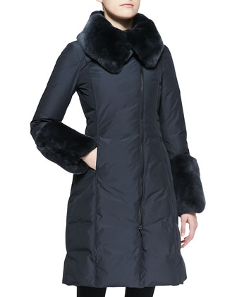 Rabbit Fur-Trim Long Puffer Coat