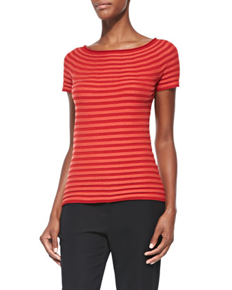 Striped Ribbed Knit Tee, Cordoba Red