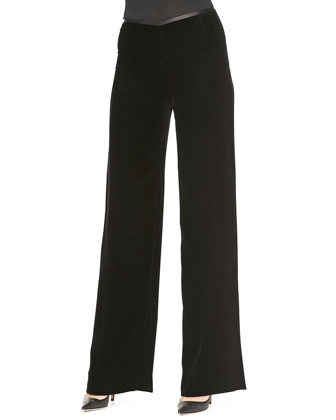 Velvet Asymmetric-Close Jacket & Wide-Leg Pants
