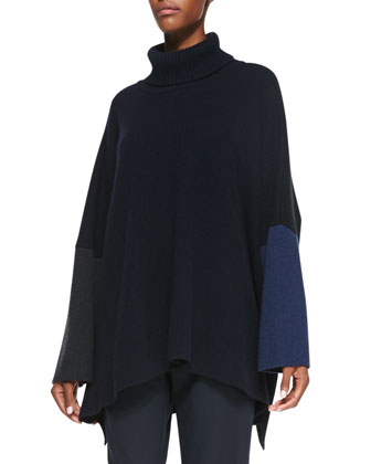 Cashmere Roll-Neck Long Sweater, Dark Mix