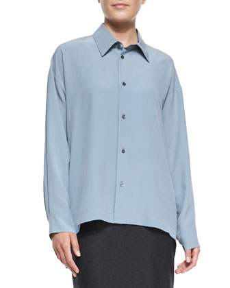 Slim Collared Silk Shirt