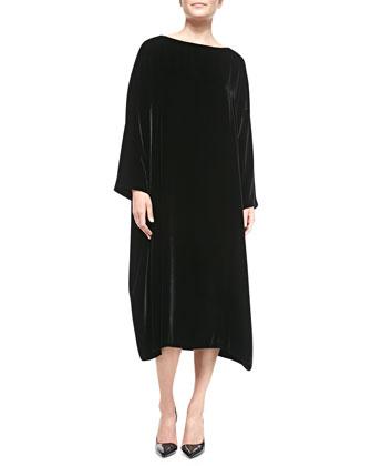 Velvet Bateau-Neck Dress, Black
