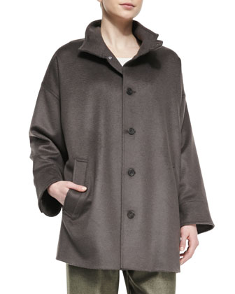 Wide Collared Camel Hair Coat