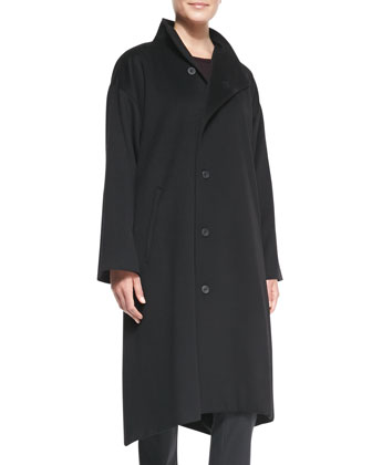 Asymmetric High-Neck Coat
