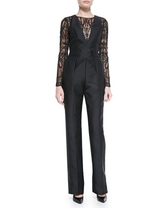 Long-Sleeve Lace-Top Jumpsuit