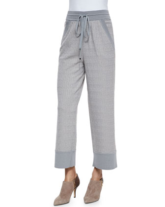 Irregular Wave-Jacquard Drawstring Pants, Light Gray