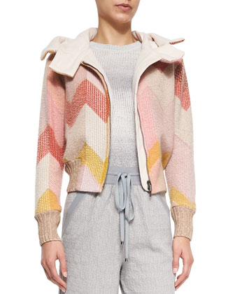 Hooded Signature Zigzag Bomber Jacket, Ombre Striped Open-Weave Sweater & ...