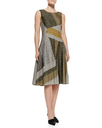 Sleeveless Metallic Patchwork Full-Skirt Dress, Olive/Multi