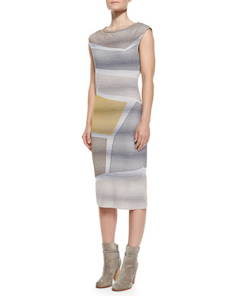 Cap-Sleeve Metallic Intarsia Dress, Gray/Yellow/Multi