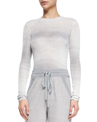Ombre Striped Open-Weave Sweater, Gray