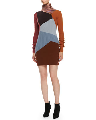 Turtleneck Colorblock Cashmere Sweaterdress, Brown/Multi