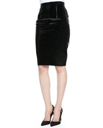 Mock-Neck Embroidered Sweatshirt & Patent Leather Pencil Skirt
