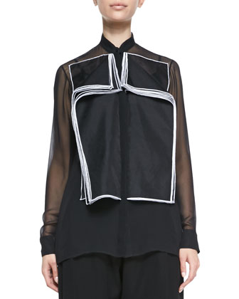 Organza Double-Layered Flap Blouse & Techno Satin Baggy Leg Pants