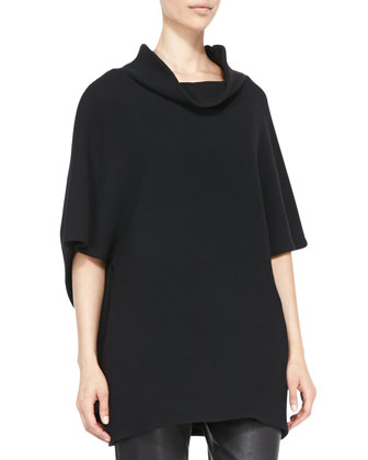 Wool Crepe Drape-Neck Cape