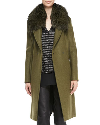 Fox Fur-Collar Slim-Cut Coat, Silk V-Neck Sack Top & Lambskin Fitted Pants ...