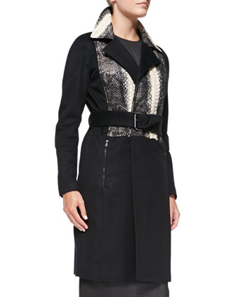 Python-Inset Cashmere Bomber Coat & Metallic Jersey Column Dress