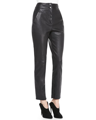 High-Waist Fitted Lamb Leather Pants