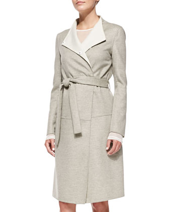 Double-Face Wool Wrap Coat, Second Skin Silk Sheer Top & Wool A-Line ...