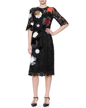 1/2-Sleeve Flower & Faux Fur Appliqu?? Dress