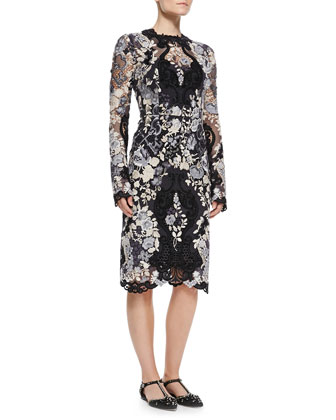 Gate/Key Embroidered Long-Sleeve Lace Dress