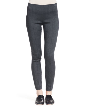 Crossover Stretch Skinny Pants, Medium Gray