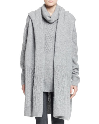 Arrington Long Cable-Trim Vest, Carrington Cable Turtleneck Sweater & ...