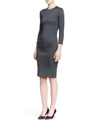 Ilia Ribbed Cocoon Cardigan and Drista Long-Sleeve Satin Dress