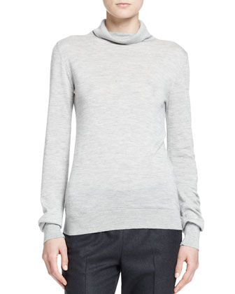 Linden Turtleneck Top, Light Gray
