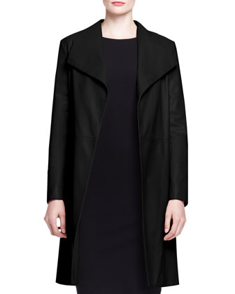 Wallin Lightweight Leather Coat and Ilid Long-Sleeve Scuba Dress
