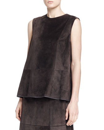 Drapley Sleeveless Suede Top