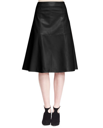Drapley Sleeveless Leather Top and Rellin A-Line Leather Skirt