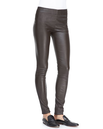Pull-On Leather Moto Leggings
