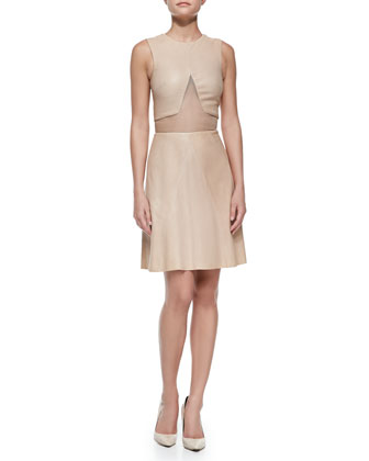 Lambskin Leather Dress with Sheer Inset, Nude
