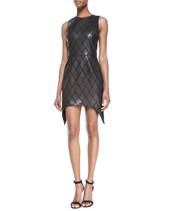 Sleeveless Black Diamond-Patterned Leather Dress