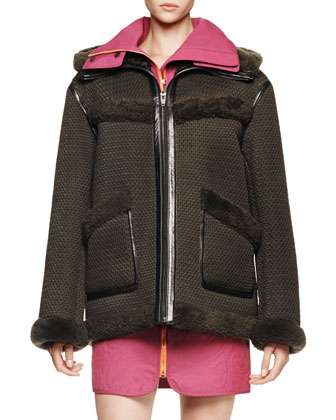 Bonded Mesh Parka with Shearling Fur