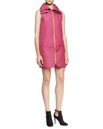 Sleeveless Quilted Zip Dress