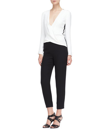 Long-Sleeve Silk Jumpsuit, Ivory/Noir
