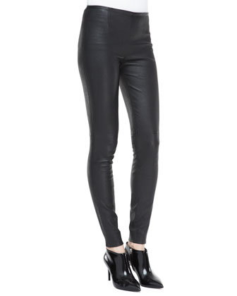 Calgary Long-Sleeve Silk Tunic and Abbey Stretch Leather Skinny Pants