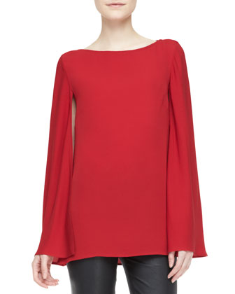 Noelle Long-Sleeve Cape Top and Abbey Stretch Leather Skinny Pants