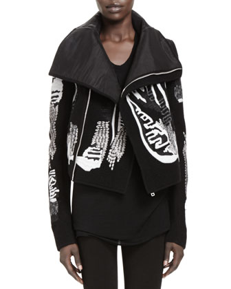 Giacca Embroidered Biker Jacket, Black/White