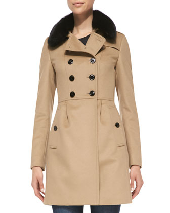 Double-Breasted Trench Coat with Fur Collar