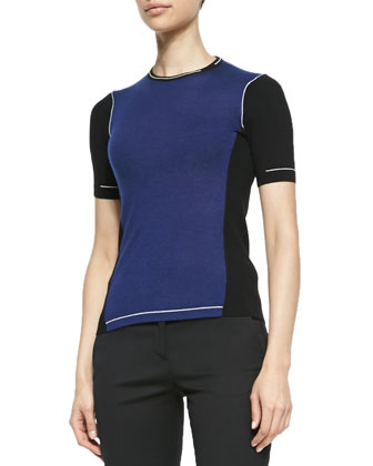 Short-Sleeve Colorblock Sweater and Cropped Skinny Pants
