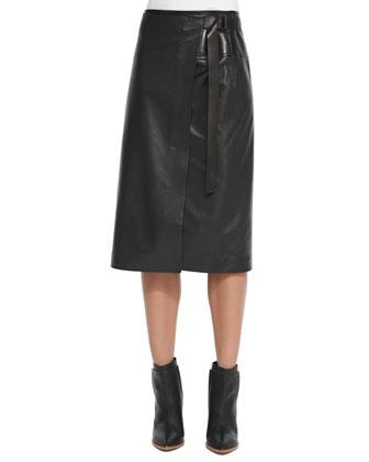 Long Leather Wrap Skirt, Black