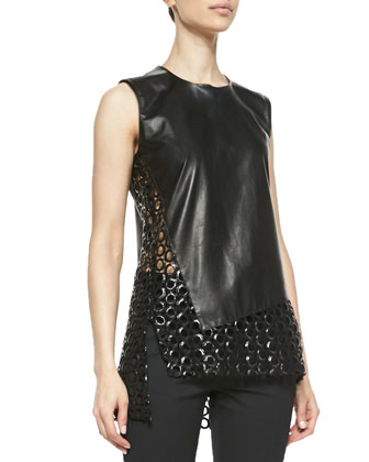 Sleeveless Circle-Cutout Leather Top