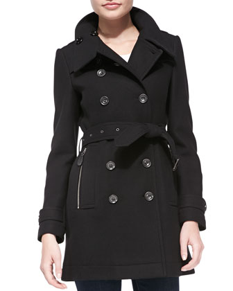 Wool-Blend Zip-Pocket Trench Coat, Black
