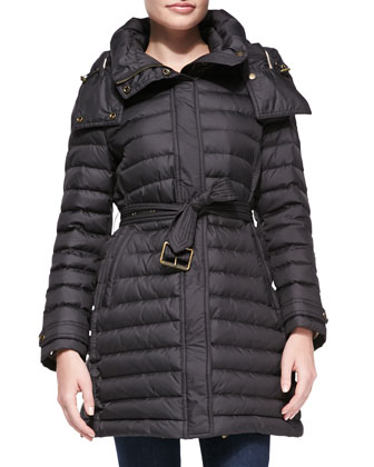 Hooded Puffer Coat, Black