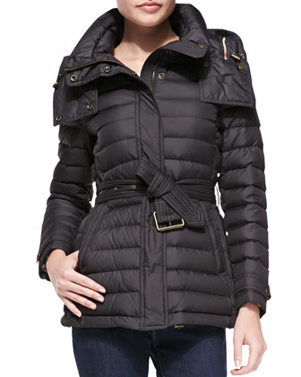 Belted Short Puffer Coat
